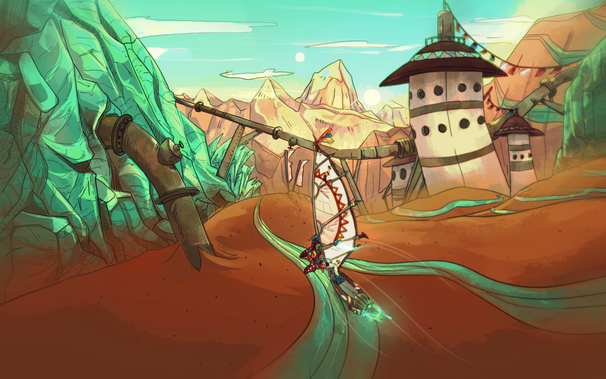 Drawing of a protagonist on a low-tech windsurf, gliding on a jade and red sand mountain.